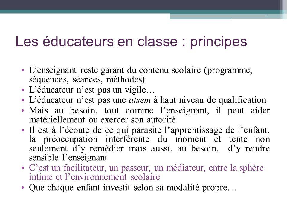 Les éducateurs en classe : principes Lenseignant reste garant du contenu scolaire (programme, séquences, séances, méthodes) Léducateur nest pas un vig