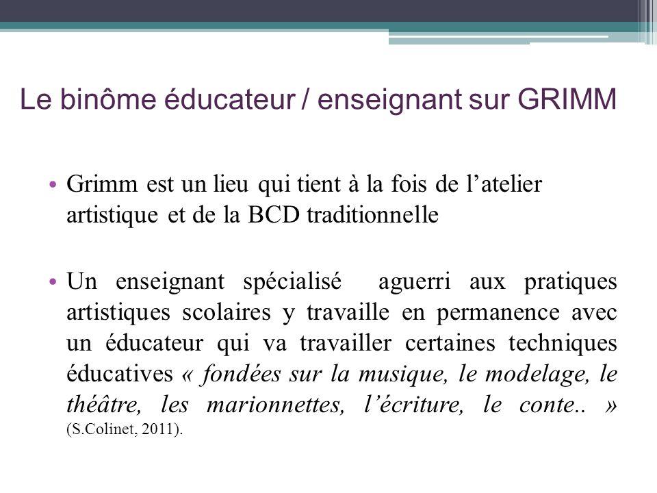 Le binôme éducateur / enseignant sur GRIMM Grimm est un lieu qui tient à la fois de latelier artistique et de la BCD traditionnelle Un enseignant spéc