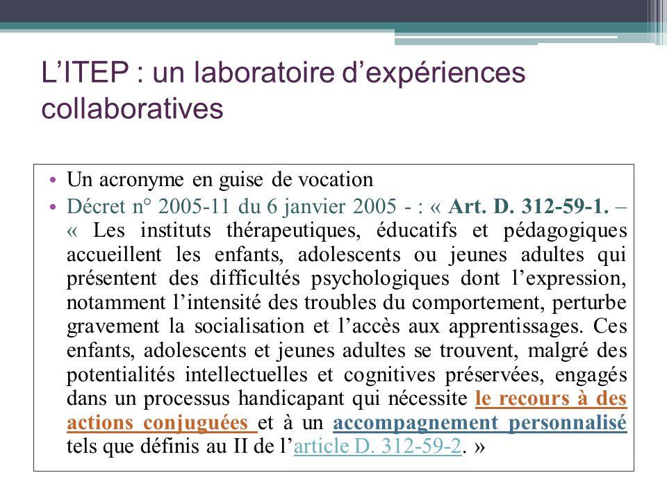 LITEP : un laboratoire dexpériences collaboratives Un acronyme en guise de vocation Décret n° 2005-11 du 6 janvier 2005 - : « Art. D. 312-59-1. – « Le