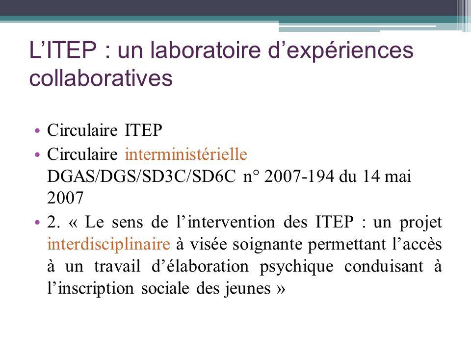 LITEP : un laboratoire dexpériences collaboratives Circulaire ITEP Circulaire interministérielle DGAS/DGS/SD3C/SD6C n° 2007-194 du 14 mai 2007 2. « Le