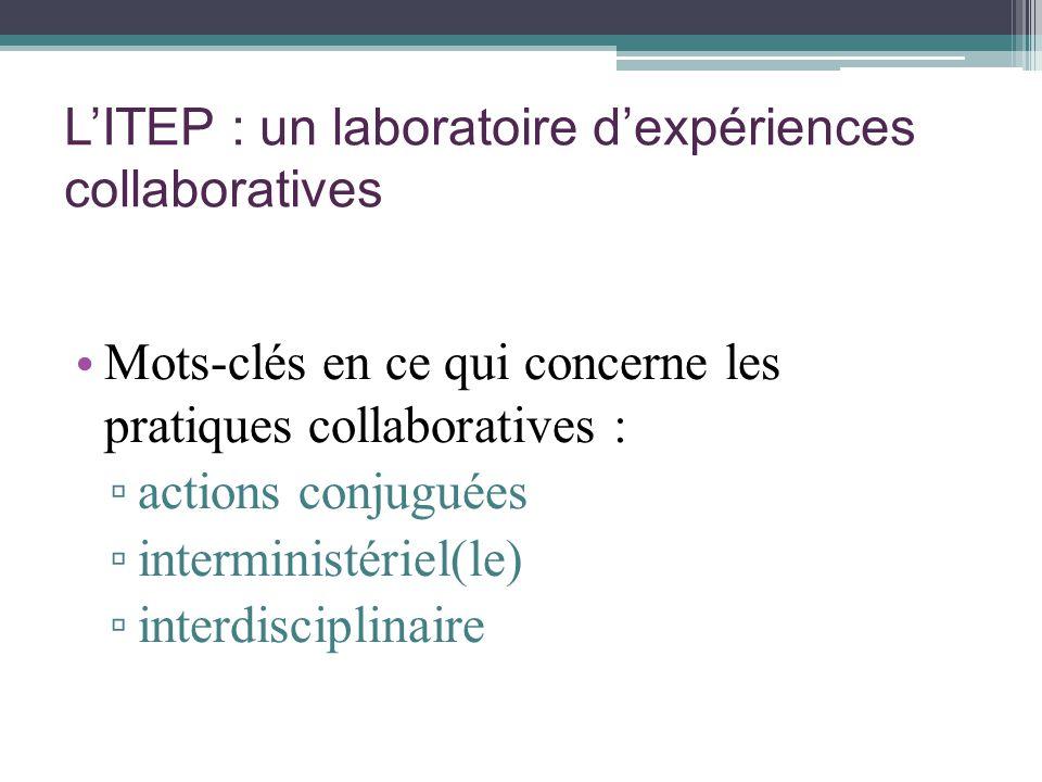 LITEP : un laboratoire dexpériences collaboratives Mots-clés en ce qui concerne les pratiques collaboratives : actions conjuguées interministériel(le)