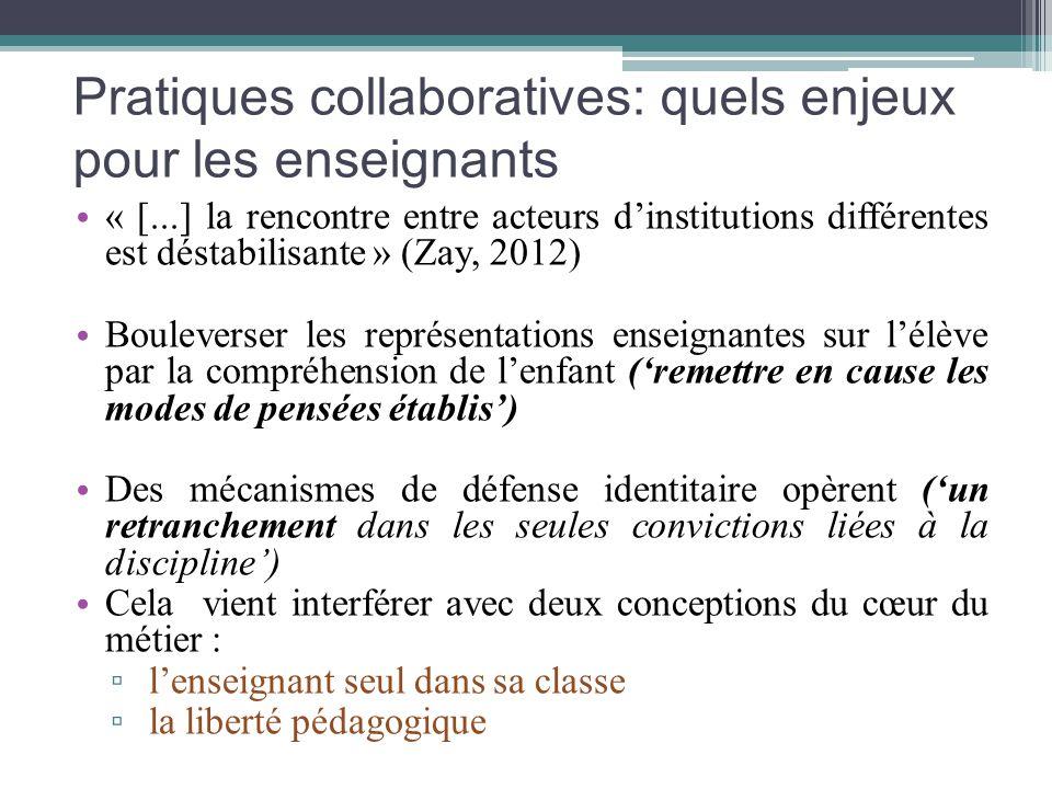 Pratiques collaboratives: quels enjeux pour les enseignants « [...] la rencontre entre acteurs dinstitutions différentes est déstabilisante » (Zay, 20
