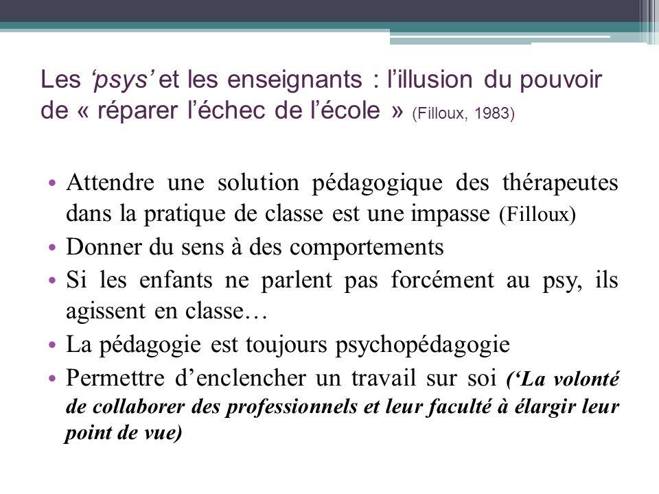 Les psys et les enseignants : lillusion du pouvoir de « réparer léchec de lécole » (Filloux, 1983) Attendre une solution pédagogique des thérapeutes d