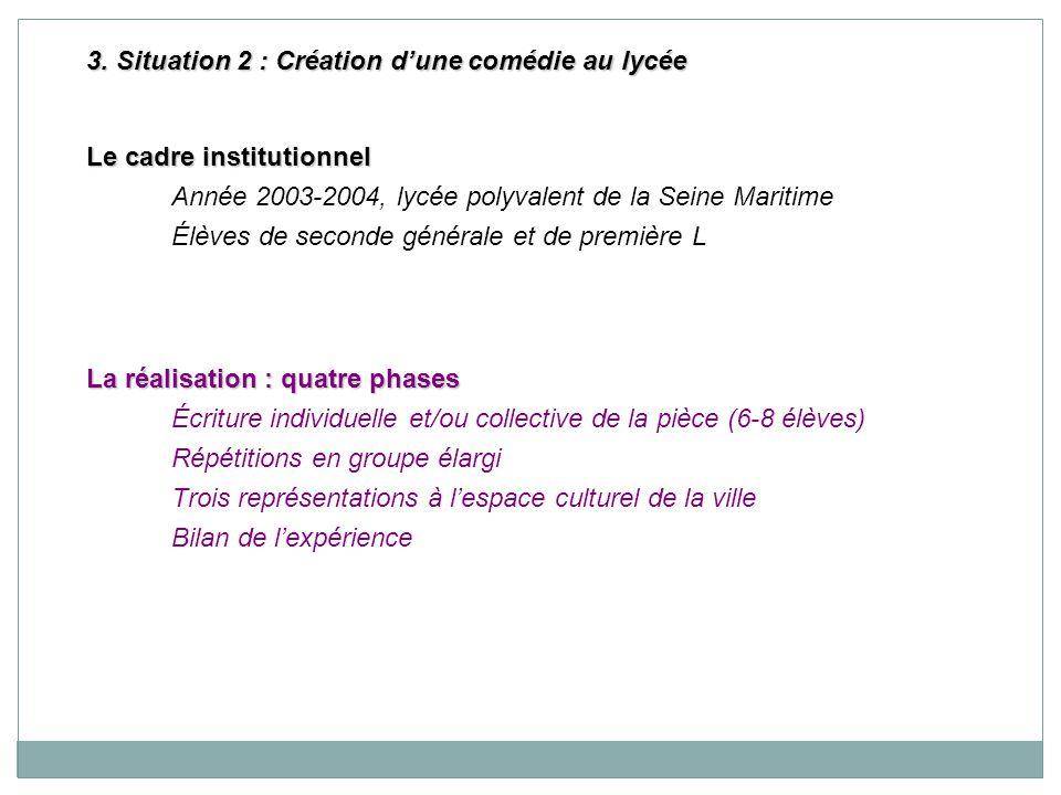 3. Situation 2 : Création dune comédie au lycée Le cadre institutionnel Année 2003-2004, lycée polyvalent de la Seine Maritime Élèves de seconde génér