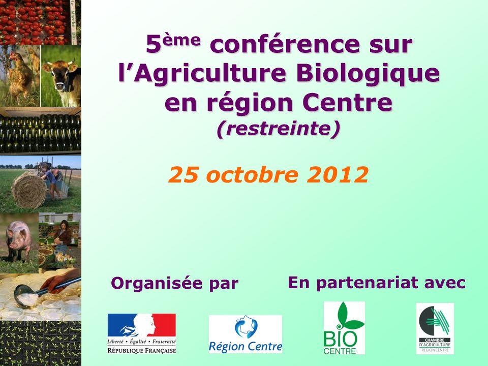 5 ème conférence sur lAgriculture Biologique en région Centre Introduction François Projetti, Directeur régional de lAlimentation, de lAgriculture et de la Forêt du Centre Marie-Madeleine Mialot, Vice-Présidente du Conseil Régional du Centre