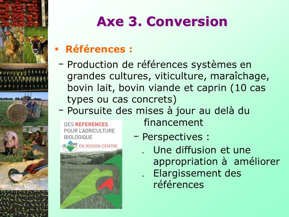 Axe 3. Conversion Production de références systèmes en grandes cultures, viticulture, maraîchage, bovin lait, bovin viande et caprin (10 cas types ou