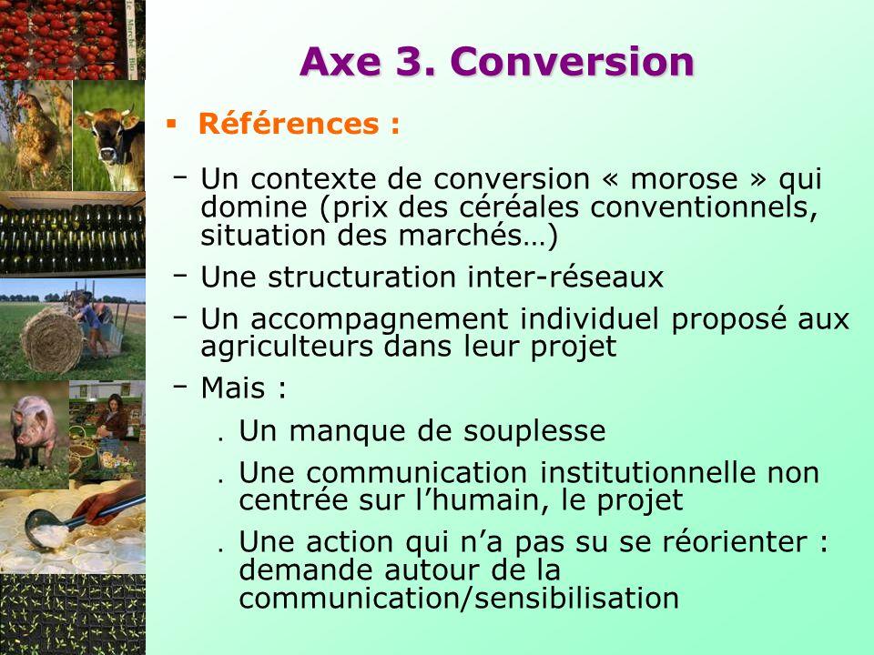 Un contexte de conversion « morose » qui domine (prix des céréales conventionnels, situation des marchés…) Une structuration inter-réseaux Un accompag