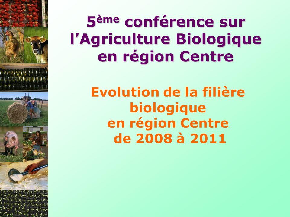 Evolution de la filière biologique en région Centre de 2008 à 2011 5 ème conférence sur lAgriculture Biologique en région Centre