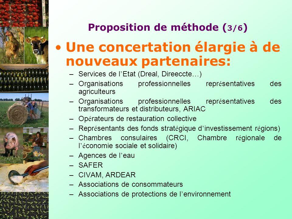Proposition de méthode ( 3/6 ) Une concertation élargie à de nouveaux partenaires: –Services de l Etat (Dreal, Direeccte … ) –Organisations profession