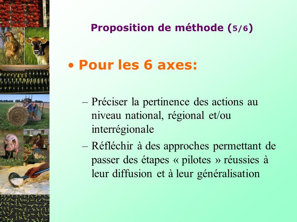Proposition de méthode ( 5/6 ) Pour les 6 axes: –Préciser la pertinence des actions au niveau national, régional et/ou interrégionale –Réfléchir à des approches permettant de passer des étapes « pilotes » réussies à leur diffusion et à leur généralisation