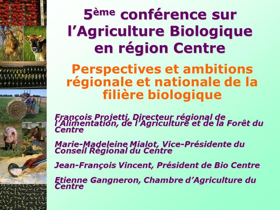 Perspectives et ambitions régionale et nationale de la filière biologique 5 ème conférence sur lAgriculture Biologique en région Centre François Proje