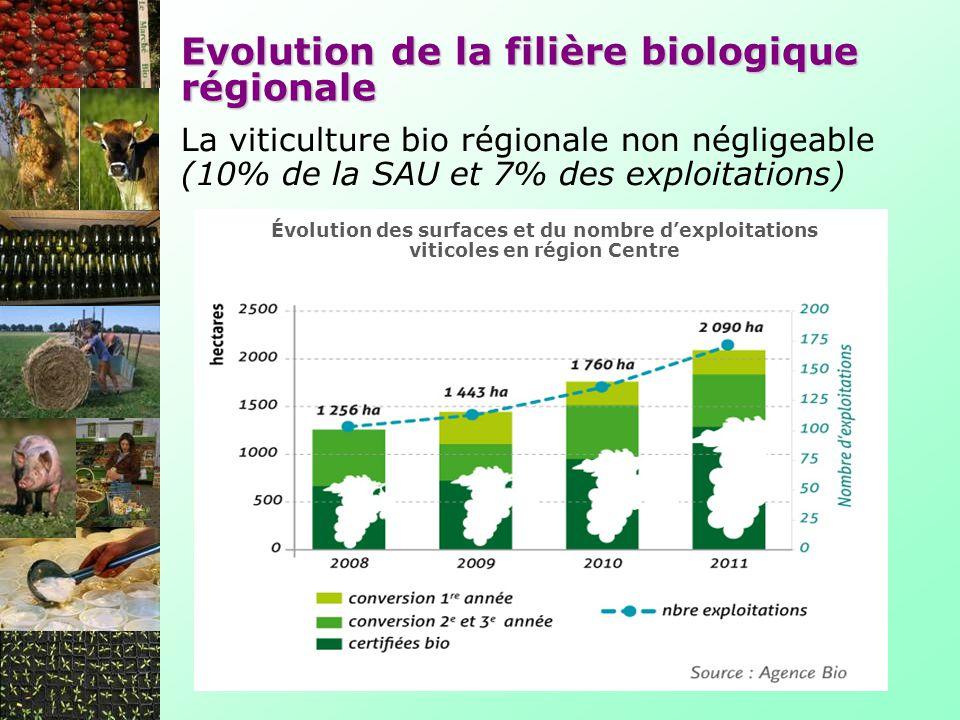 Evolution de la filière biologique régionale La viticulture bio régionale non négligeable (10% de la SAU et 7% des exploitations) Évolution des surfaces et du nombre dexploitations viticoles en région Centre