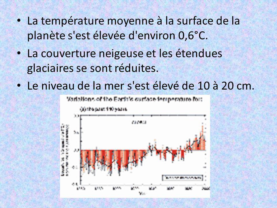 La température moyenne à la surface de la planète s'est élevée d'environ 0,6°C. La couverture neigeuse et les étendues glaciaires se sont réduites. Le