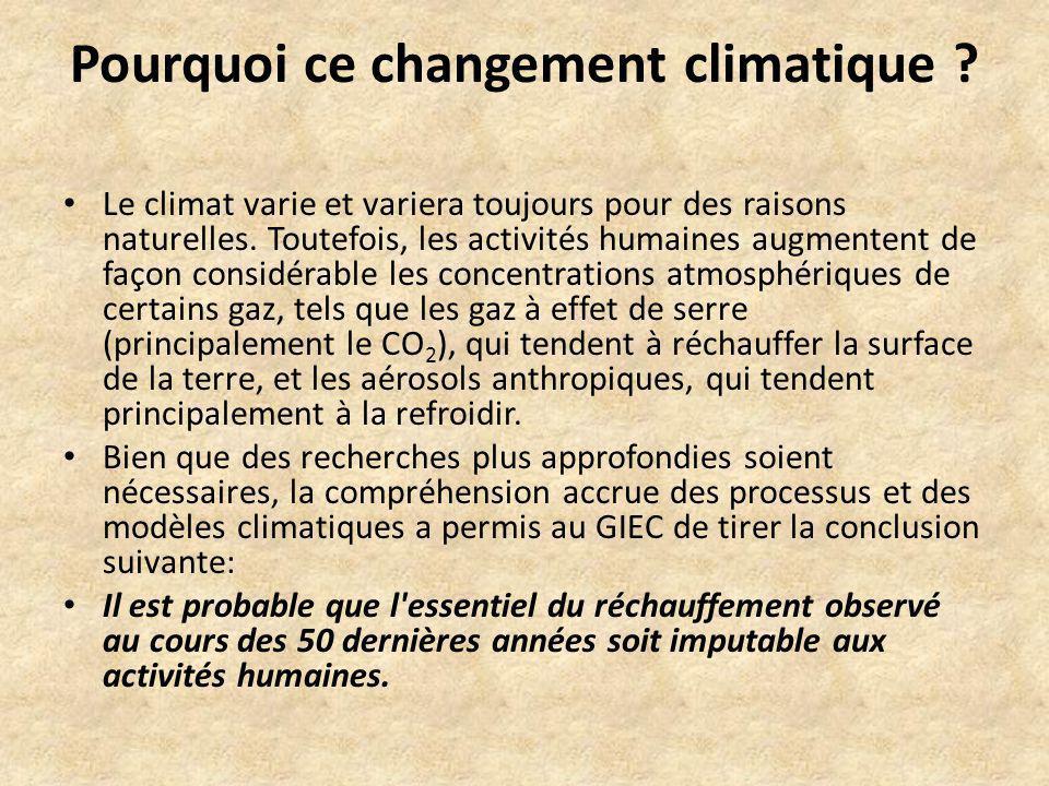 Pourquoi ce changement climatique ? Le climat varie et variera toujours pour des raisons naturelles. Toutefois, les activités humaines augmentent de f