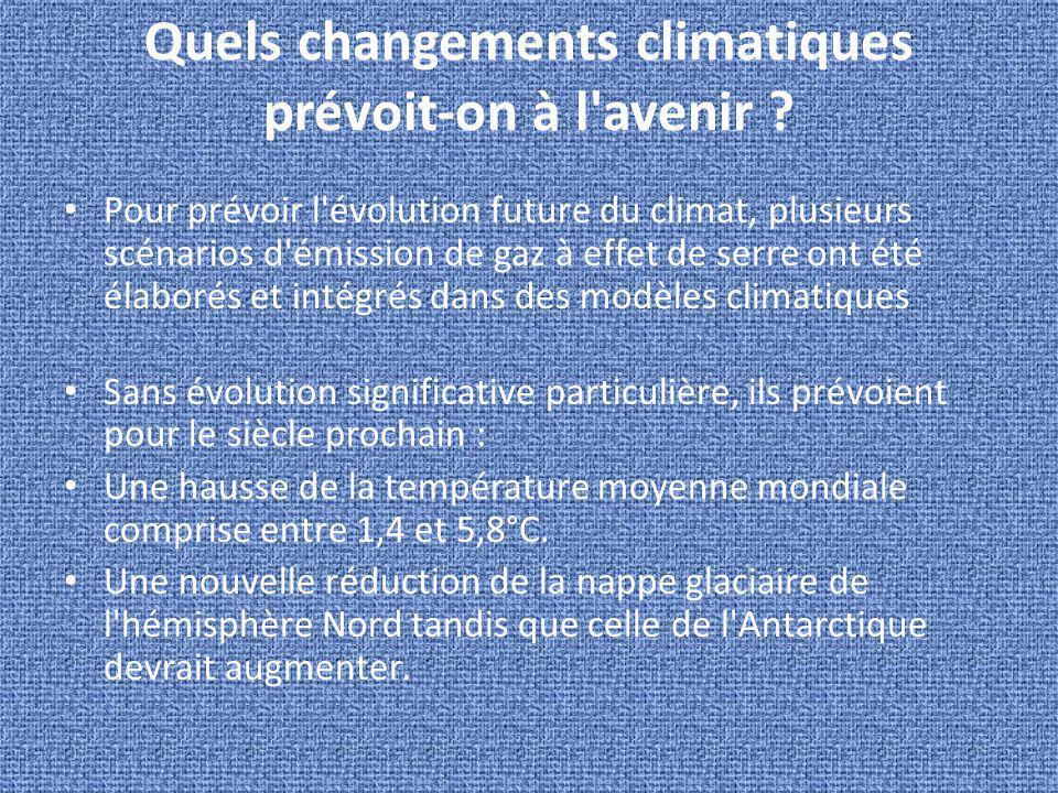 Quels changements climatiques prévoit-on à l'avenir ? Pour prévoir l'évolution future du climat, plusieurs scénarios d'émission de gaz à effet de serr