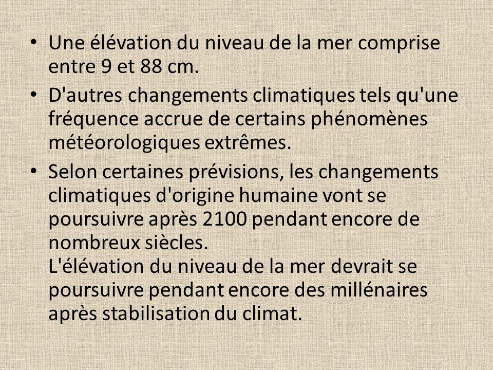 Une élévation du niveau de la mer comprise entre 9 et 88 cm. D'autres changements climatiques tels qu'une fréquence accrue de certains phénomènes mété