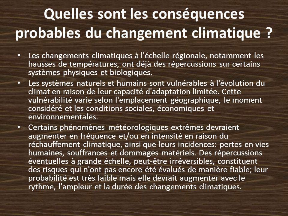 Quelles sont les conséquences probables du changement climatique ? Les changements climatiques à l'échelle régionale, notamment les hausses de tempéra