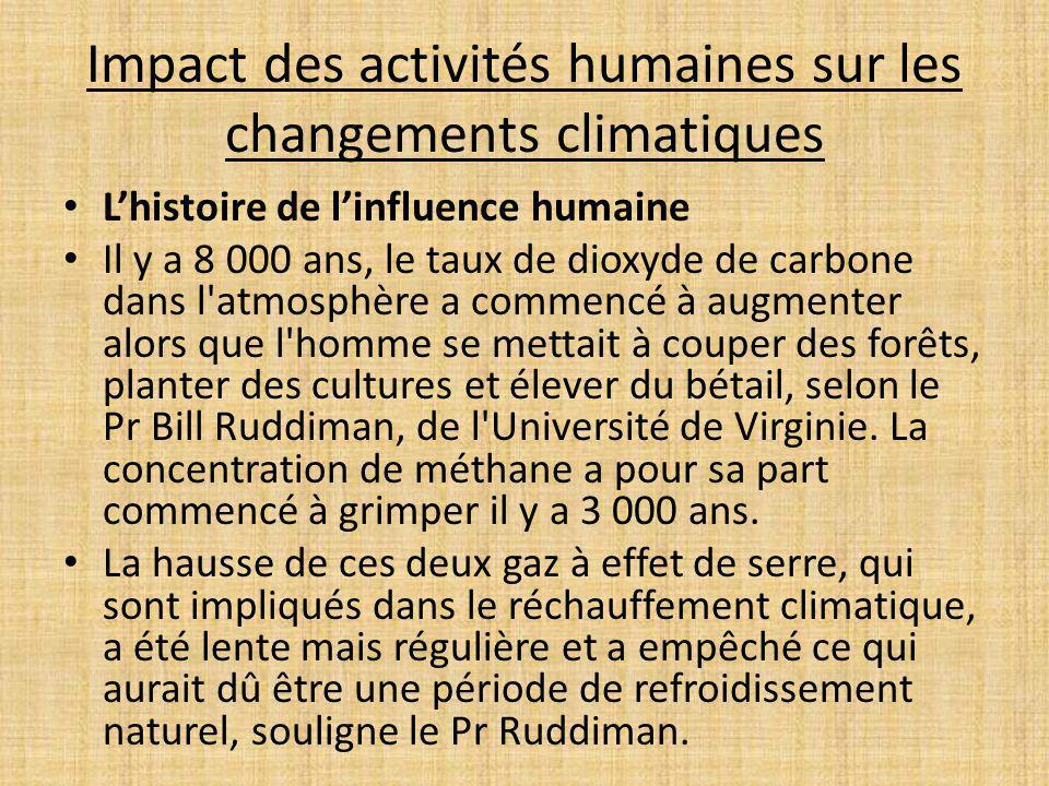Impact des activités humaines sur les changements climatiques Lhistoire de linfluence humaine Il y a 8 000 ans, le taux de dioxyde de carbone dans l'a