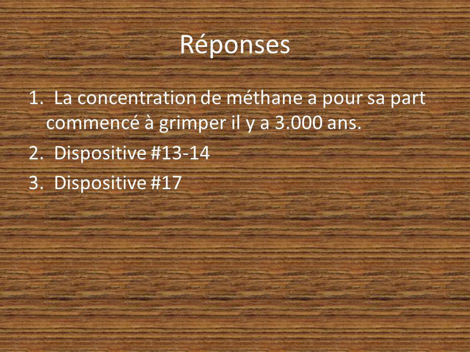 Réponses 1. La concentration de méthane a pour sa part commencé à grimper il y a 3.000 ans. 2. Dispositive #13-14 3. Dispositive #17