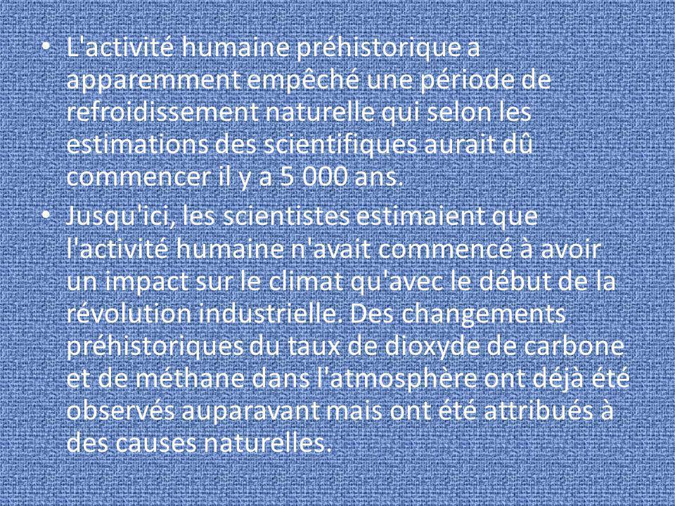 L'activité humaine préhistorique a apparemment empêché une période de refroidissement naturelle qui selon les estimations des scientifiques aurait dû