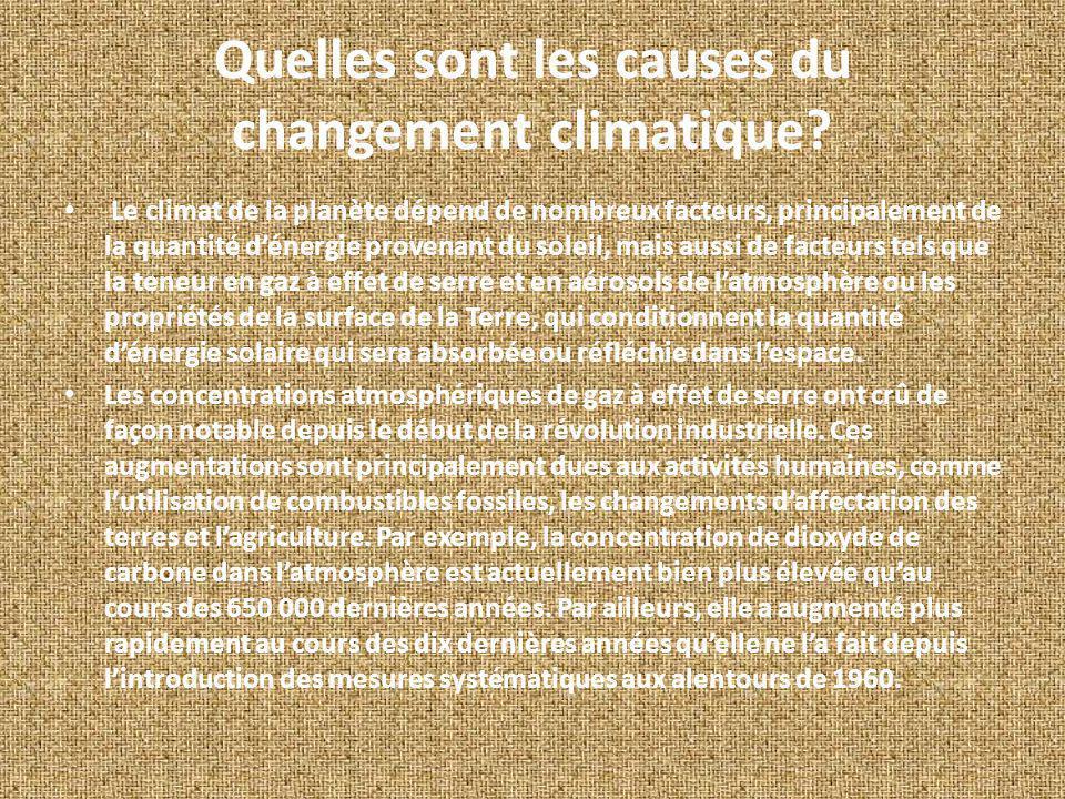 Quelles sont les causes du changement climatique? Le climat de la planète dépend de nombreux facteurs, principalement de la quantité dénergie provenan