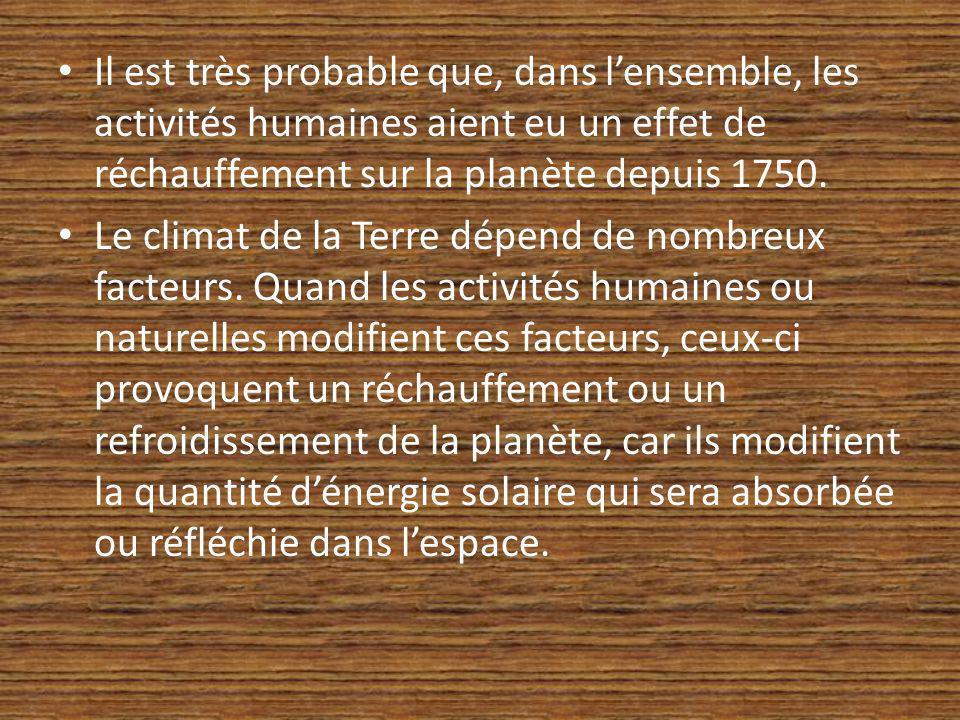 Il est très probable que, dans lensemble, les activités humaines aient eu un effet de réchauffement sur la planète depuis 1750. Le climat de la Terre