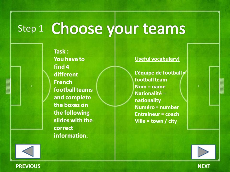 Step 1 Task : You have to find 4 different French football teams and complete the boxes on the following slides with the correct information.