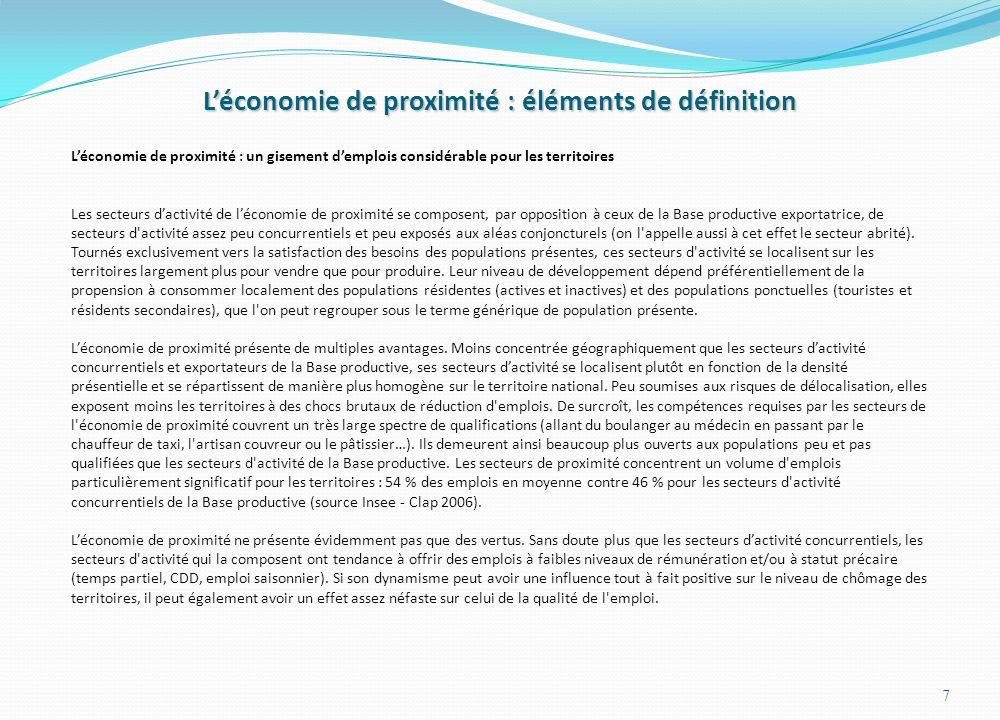Dynamique de lemploi par sphère : un tissu productif qui se « résidentialise » 18 Déjà supérieure aux moyennes de comparaison en 1975, la part des emplois de la sphère présentielle a considérablement augmenté sur la période 1975-2010… … plus en raison des fortes diminutions de lemploi dans la sphère non présentielle (activités à dimension exportatrice), marquée par une chute de leurs effectifs de – 22,9 % contre – 3 % en Rhône Alpes et - 12,2 % en France, que dun dynamisme spécifique de la sphère présentielle qui a certes enregistré une rapide progression de ses effectifs mais inférieure aux moyennes La mutation du tissu productif est ainsi plus le fruit dun processus de présidentialisation par le bas lié à leffondrement des activités concurrentielles que du dynamisme spécifique de la consommation