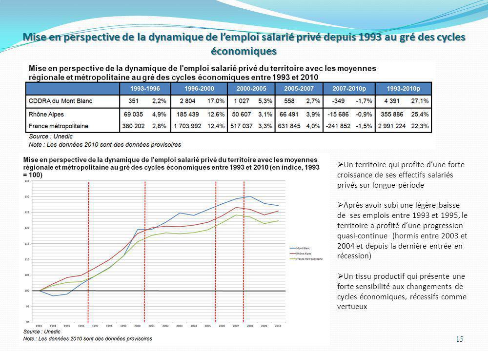 Mise en perspective de la dynamique de lemploi salarié privé depuis 1993 au gré des cycles économiques 15 Un territoire qui profite dune forte croissa