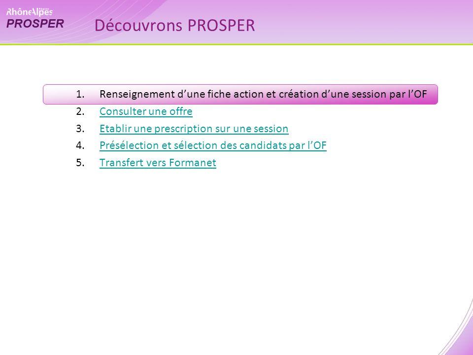 1.Renseignement dune fiche action et création dune session par lOF 2.Consulter une offreConsulter une offre 3.Etablir une prescription sur une session