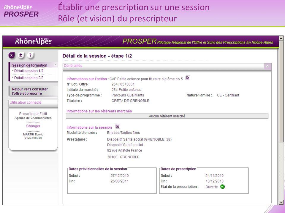 Établir une prescription sur une session Rôle (et vision) du prescripteur