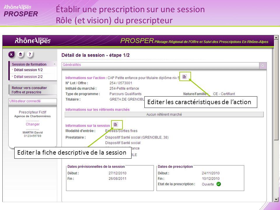 Editer la fiche descriptive de la session Editer les caractéristiques de laction Établir une prescription sur une session Rôle (et vision) du prescrip