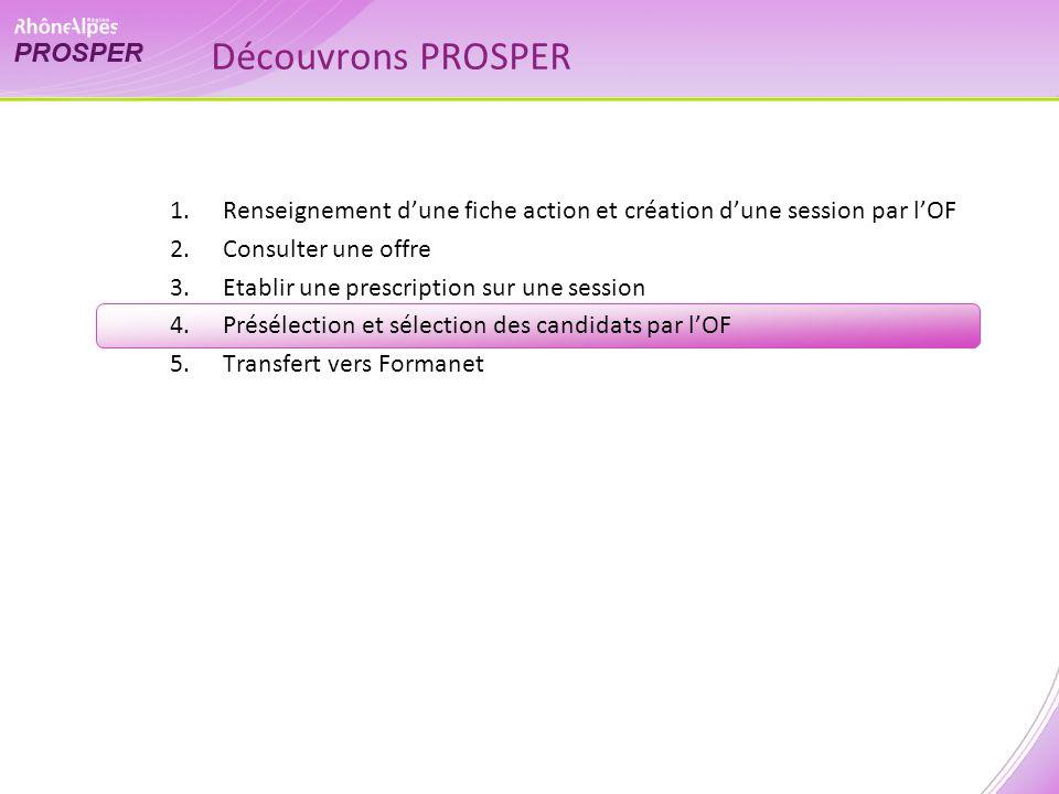 1.Renseignement dune fiche action et création dune session par lOF 2.Consulter une offre 3.Etablir une prescription sur une session 4.Présélection et