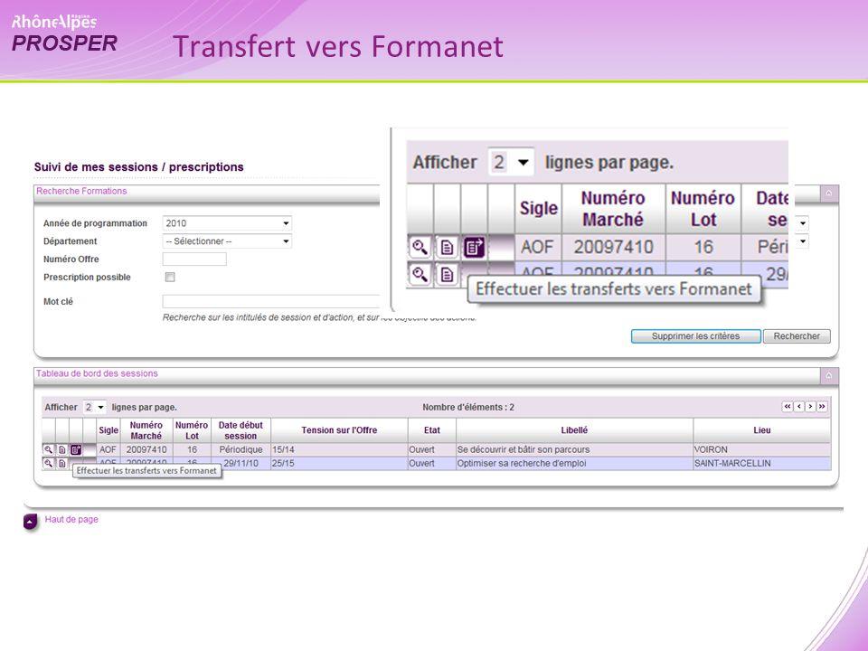 Transfert vers Formanet