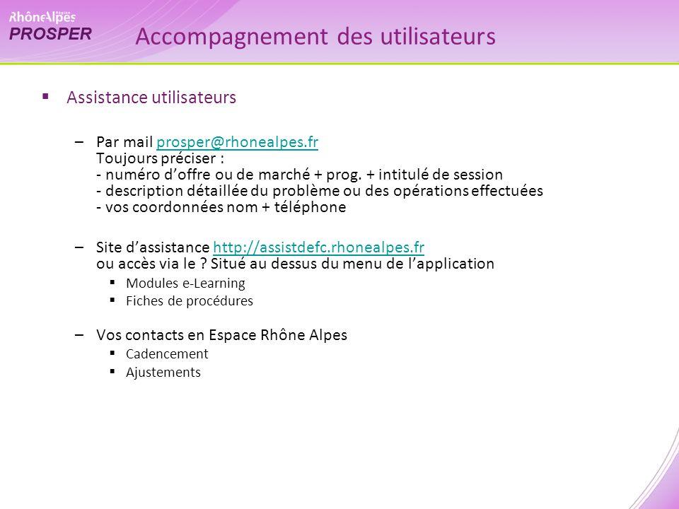 Accompagnement des utilisateurs Assistance utilisateurs –Par mail prosper@rhonealpes.fr Toujours préciser : - numéro doffre ou de marché + prog. + int