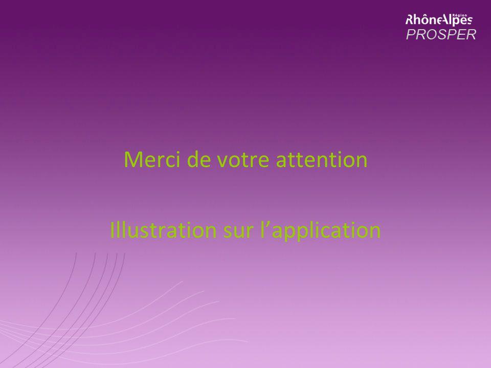 Merci de votre attention Illustration sur lapplication