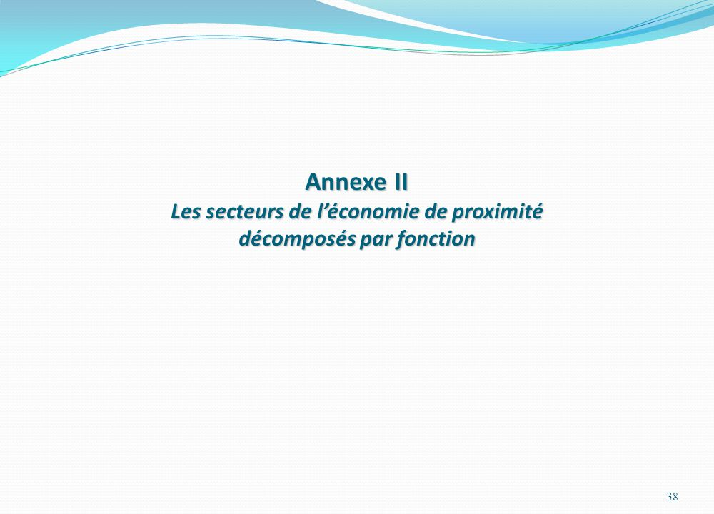 Annexe II Les secteurs de léconomie de proximité décomposés par fonction 38