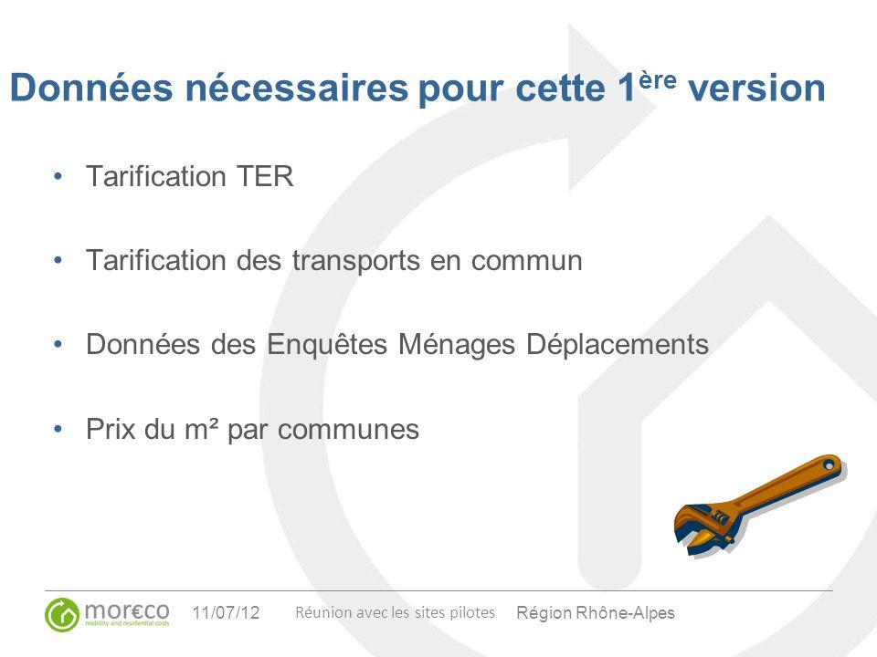 Région Rhône-Alpes Réunion avec les sites pilotes 11/07/12 Données nécessaires pour cette 1 ère version Tarification TER Tarification des transports e