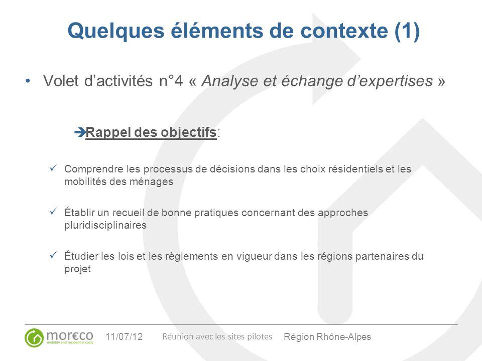 Région Rhône-Alpes Réunion avec les sites pilotes 11/07/12 Quelques éléments de contexte (1) Volet dactivités n°4 « Analyse et échange dexpertises » R
