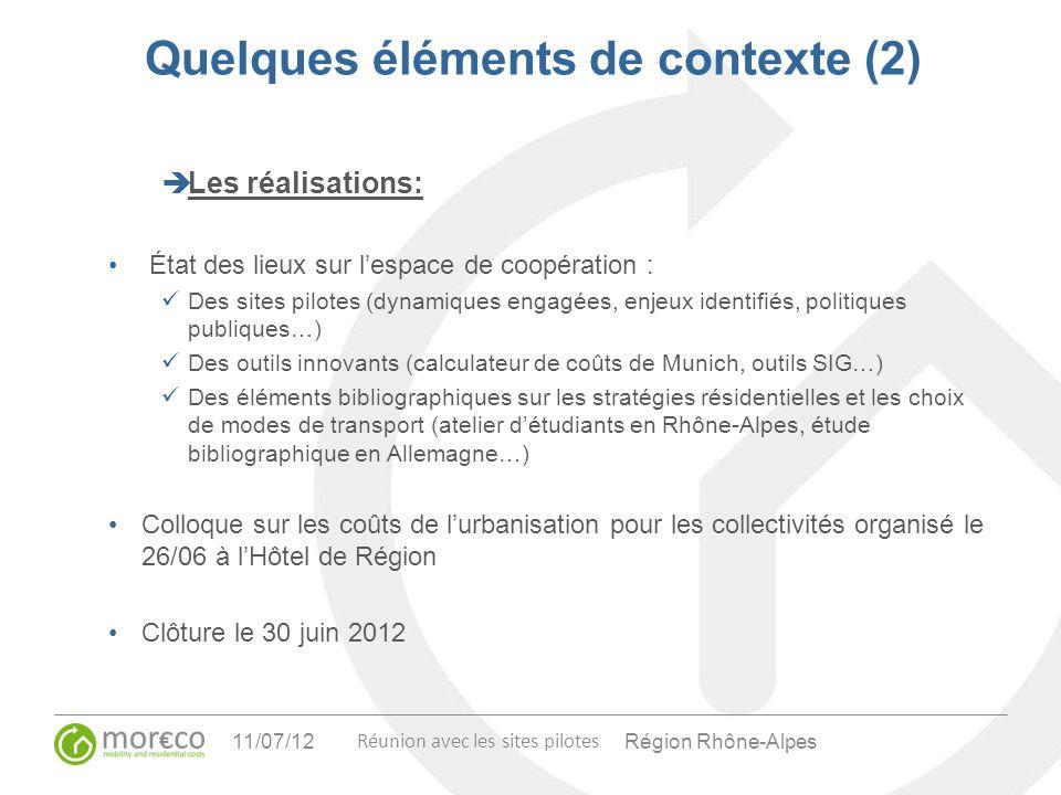 Région Rhône-Alpes Réunion avec les sites pilotes 11/07/12 Quelques éléments de contexte (2) Les réalisations: État des lieux sur lespace de coopérati