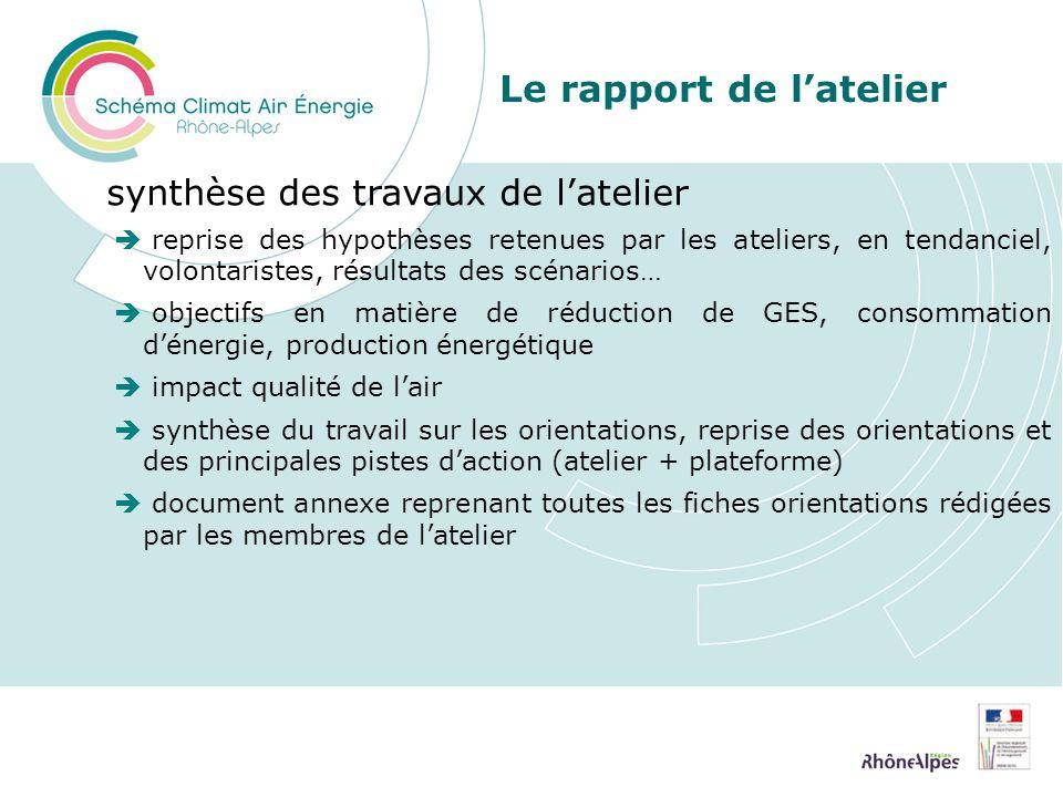 Le rapport de latelier synthèse des travaux de latelier reprise des hypothèses retenues par les ateliers, en tendanciel, volontaristes, résultats des