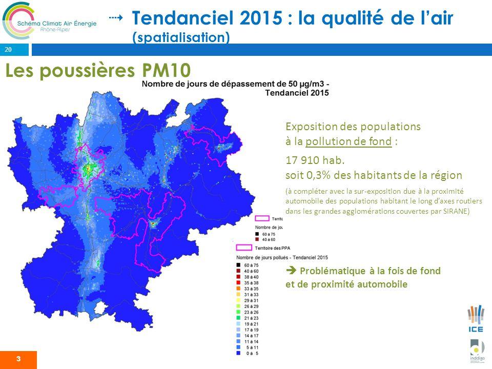 Tendanciel 2015 : la qualité de lair (spatialisation) 3 Exposition des populations à la pollution de fond : 17 910 hab. soit 0,3% des habitants de la