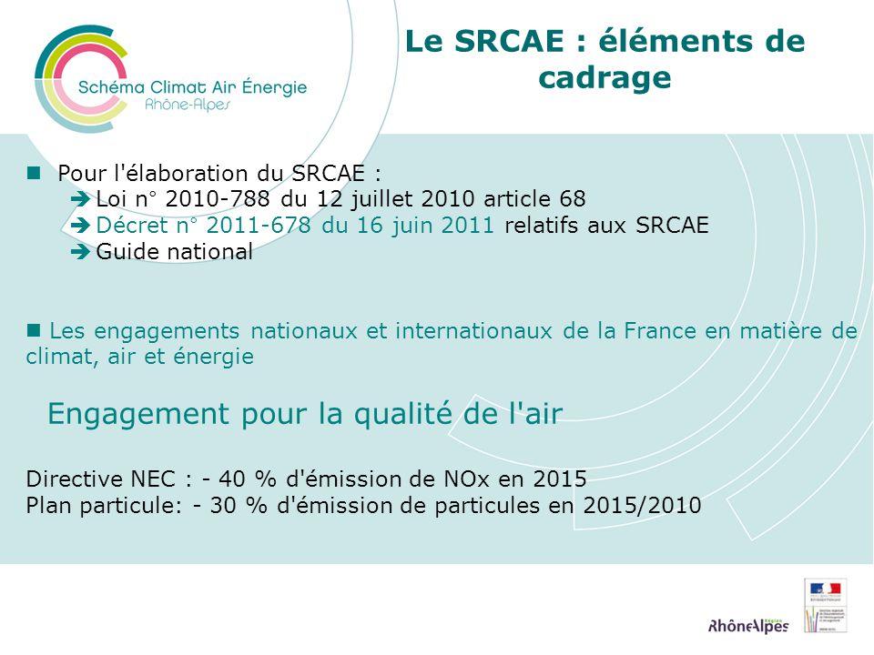 Le SRCAE : éléments de cadrage Pour l élaboration du SRCAE : Loi n° 2010-788 du 12 juillet 2010 article 68 Décret n° 2011-678 du 16 juin 2011 relatifs aux SRCAE Guide national Les engagements nationaux et internationaux de la France en matière de climat, air et énergie Engagement pour la qualité de l air Directive NEC : - 40 % d émission de NOx en 2015 Plan particule: - 30 % d émission de particules en 2015/2010