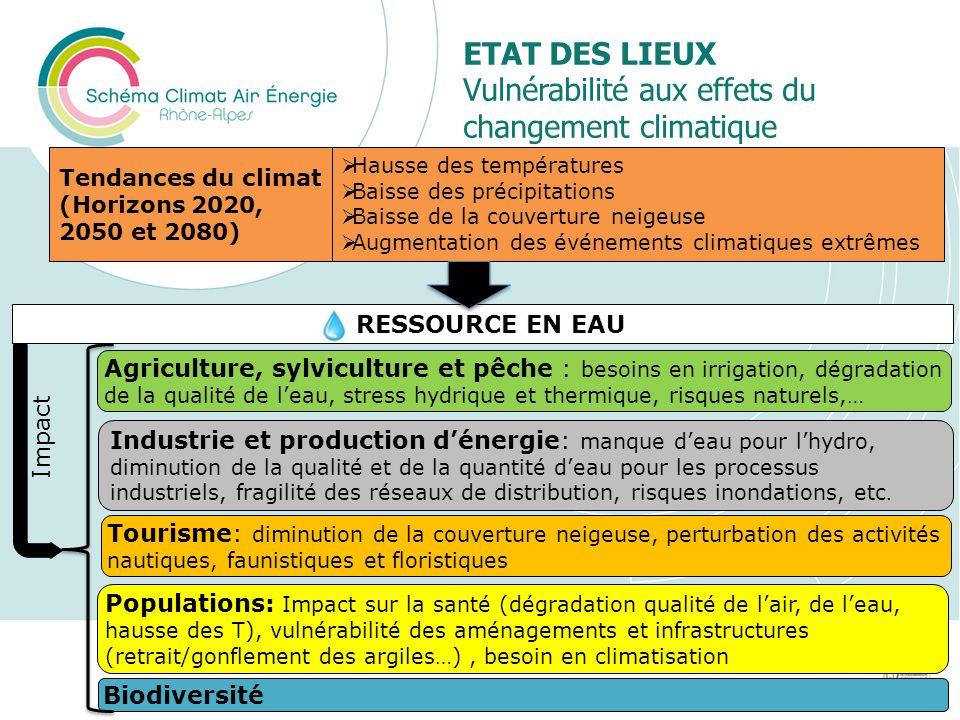 ETAT DES LIEUX Vulnérabilité aux effets du changement climatique 15 RESSOURCE EN EAU Agriculture, sylviculture et pêche : besoins en irrigation, dégra