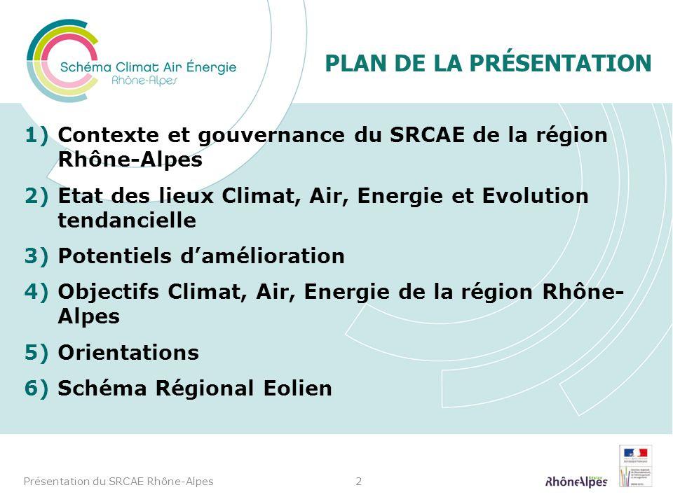 PLAN DE LA PRÉSENTATION 1)Contexte et gouvernance du SRCAE de la région Rhône-Alpes 2)Etat des lieux Climat, Air, Energie et Evolution tendancielle 3)