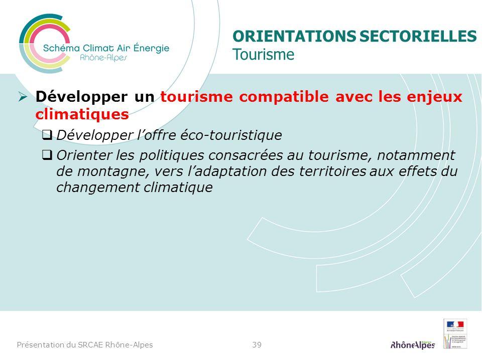 ORIENTATIONS SECTORIELLES Tourisme Développer un tourisme compatible avec les enjeux climatiques Développer loffre éco-touristique Orienter les politi