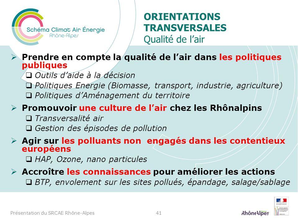 Prendre en compte la qualité de lair dans les politiques publiques Outils daide à la décision Politiques Energie (Biomasse, transport, industrie, agri