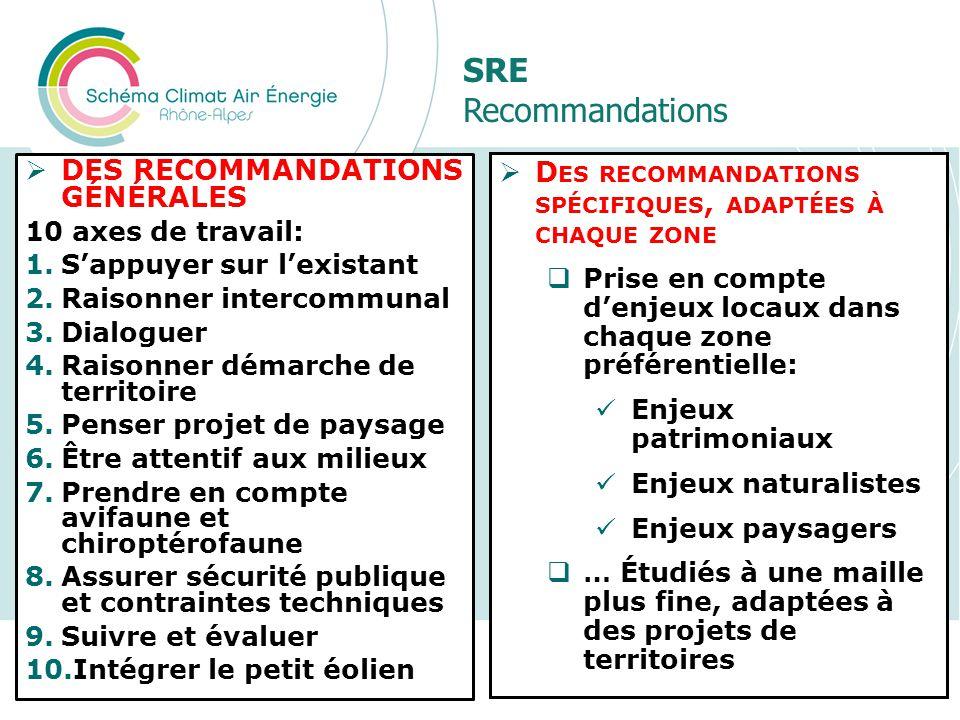SRE Recommandations Présentation du SRCAE Rhône-Alpes47 D ES RECOMMANDATIONS SPÉCIFIQUES, ADAPTÉES À CHAQUE ZONE Prise en compte denjeux locaux dans c