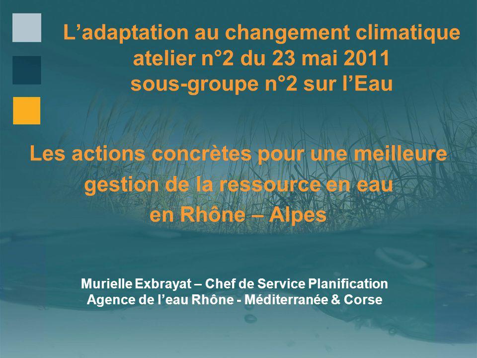 Ladaptation au changement climatique atelier n°2 du 23 mai 2011 sous-groupe n°2 sur lEau Les actions concrètes pour une meilleure gestion de la ressou