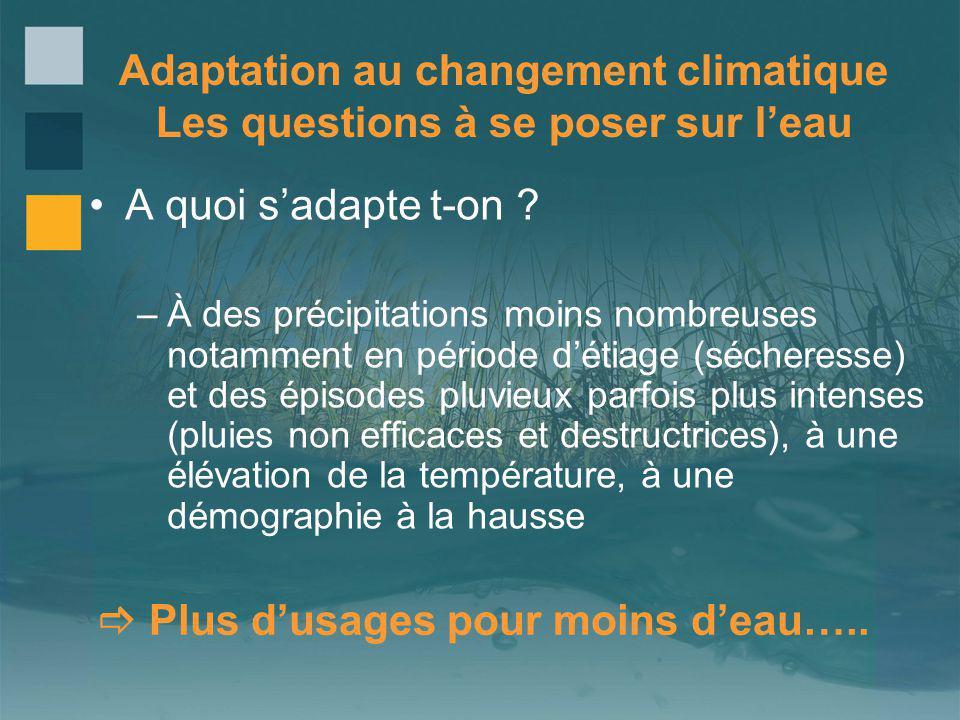 Adaptation au changement climatique Les questions à se poser sur leau A quoi sadapte t-on ? –À des précipitations moins nombreuses notamment en périod